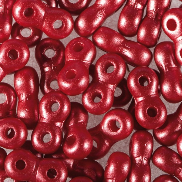 Infinity-Beads DeluXes 3x6mm 5,5g rot seidenmatt, 2-Loch-Glasperle, Lochgr. ca. 0,9mm