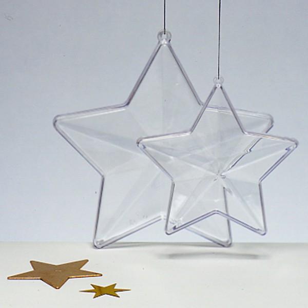 Kunststoff-Stern glasklar Ø 140mm 2 Halbschalen zum Zusammenstecken