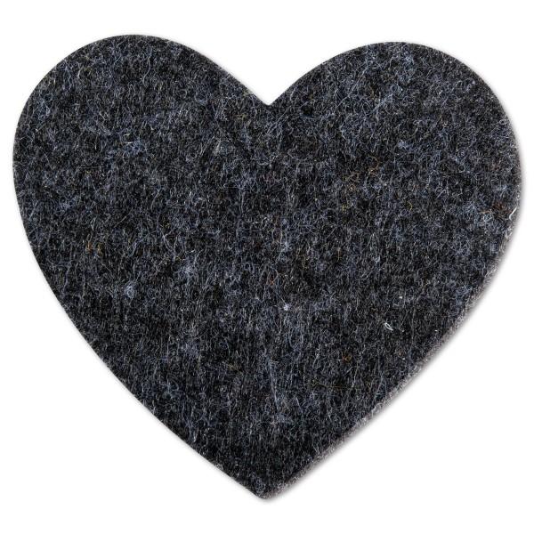 Filzherzen 5,5x6cm 4 St. dunkelgrau meliert 100% Polyester