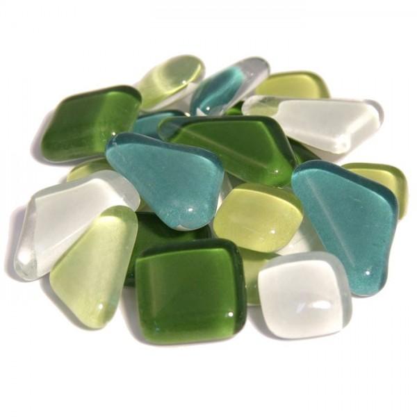 Mosaik Soft-Glas polygonal 200g grün mix 5-20mm, 4mm stark, ca. 130 Steine