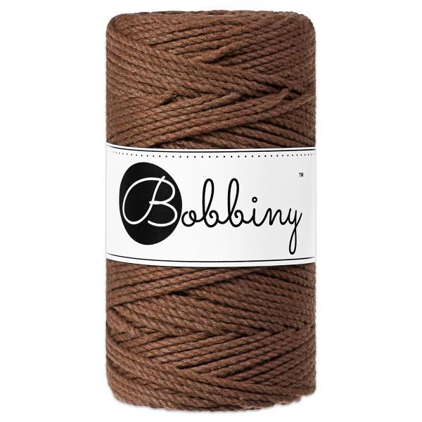 Bobbiny 3PLY Makramee Kordel Ø3mm mocha ca. 300g-400g, 100% Baumwolle, LL 100m, 3x20 Fasern