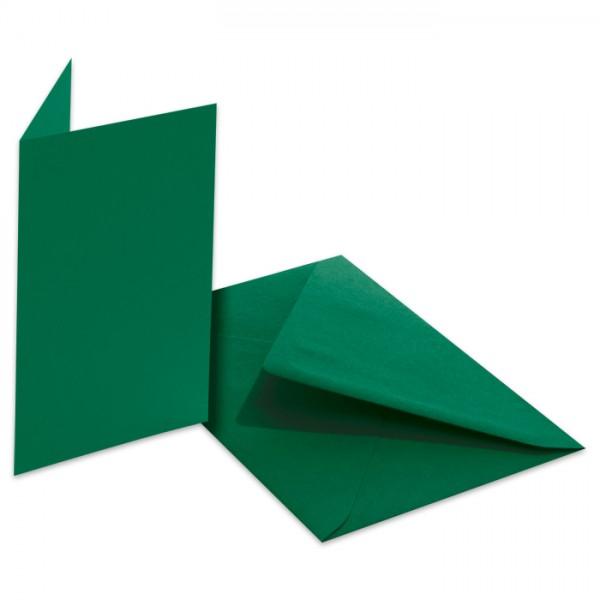 Doppelkarten 220g/m² 10,5x15cm 5 St. tannengrün inkl. Kuvert&Einlegeblatt