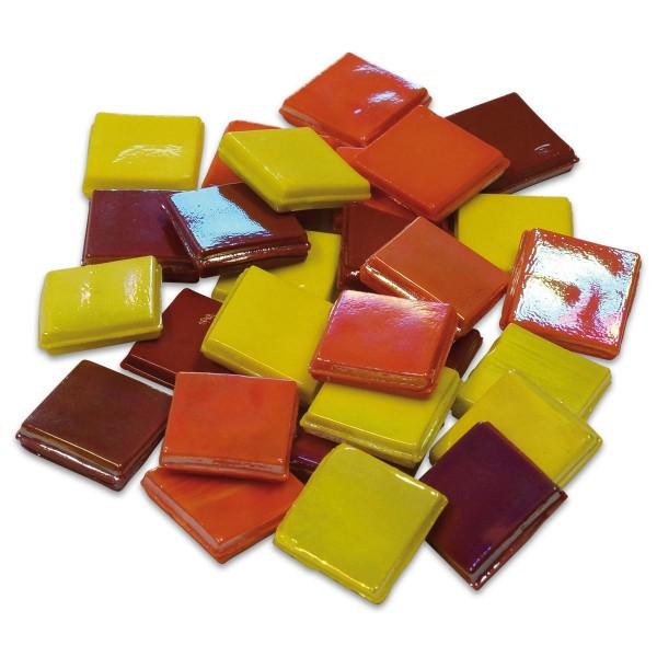 Eis Glas opak 15x15x4mm 200g gelb-rot mix ca. 100 St.