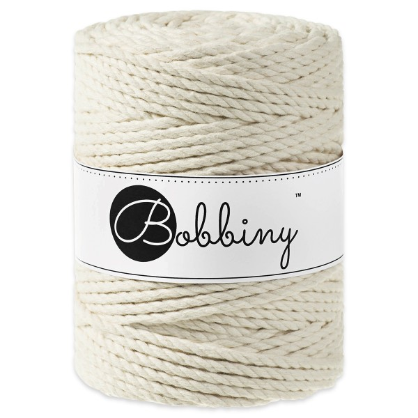 Bobbiny 3PLY Makramé-Kordel Ø5mm natural ca. 700g-800g, 100% Baumwolle, LL 100m, 3x60 Fasern