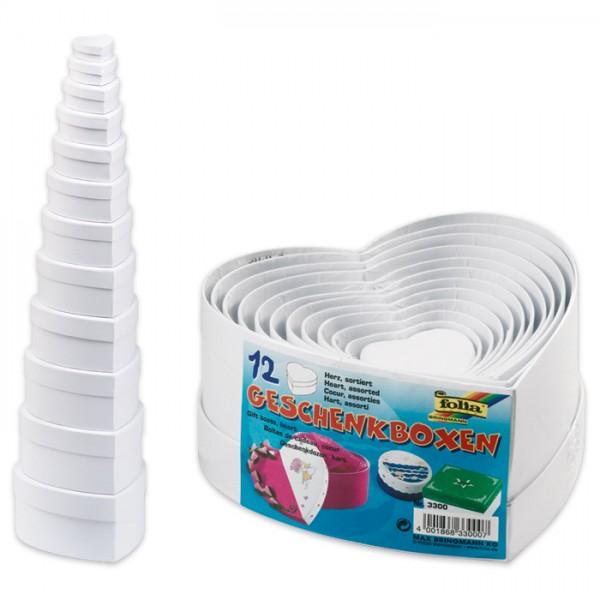 Geschenkboxen Karton 12-teilig Herz weiß 13,5x15,5x7,5cm bis 3,5x4,5x2cm