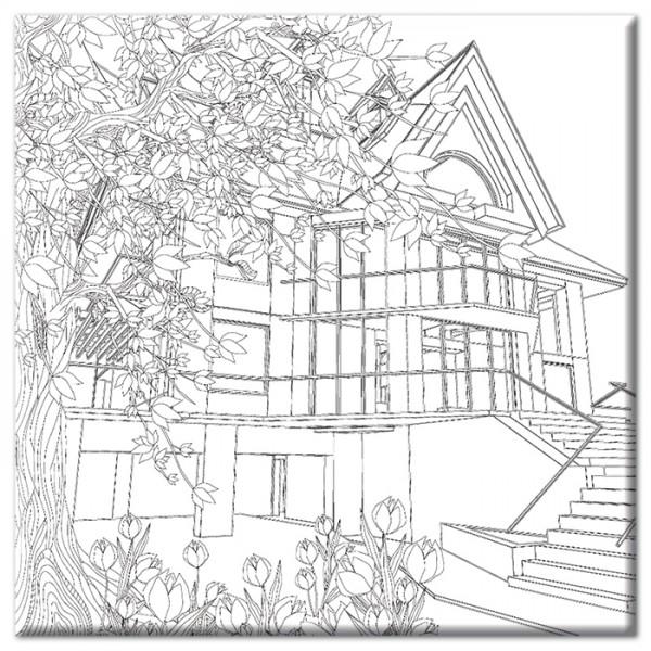 bedruckter Keilrahmen 30x30x2cm Fachwerkhaus
