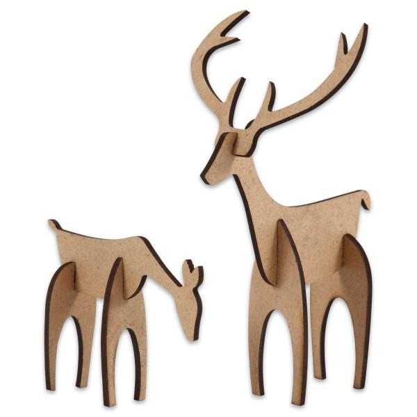 Hirsch & Hirschkuh MDF ca. 5x6x0,2/12,5x8x0,2cm zum Zusammenstecken