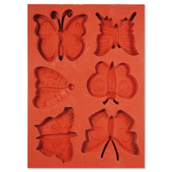 3D-Silikon-Gießform Schmetterlinge 6 Motive, ca. 4,5x7,5cm