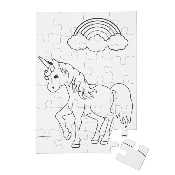 Puzzles zum Ausmalen 15x20,6cm 2 St. Einhorn weiß Karton