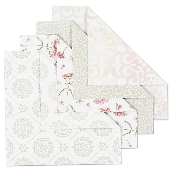 Faltblätter Origami-Papier 15x15cm 40 Bl. grün/grau/weiß/rosa 80g/m², 4 Designs