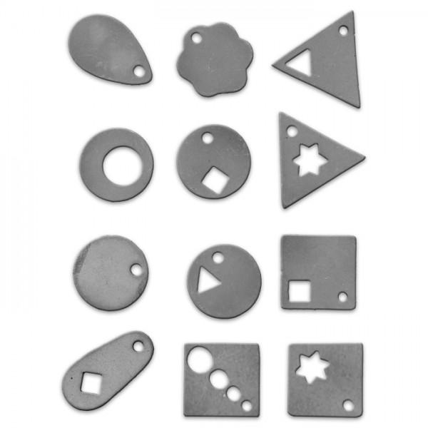 Schmuck-Gießformen Kunststoff, ca.4-6cm, 12 Modelle