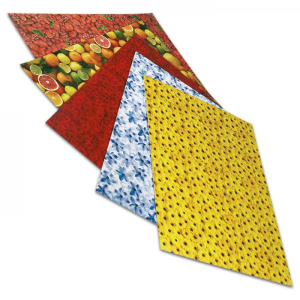 Transparentpapier 50,5x70cm 10 Bl. Fruits 115g/m², 5 Motive