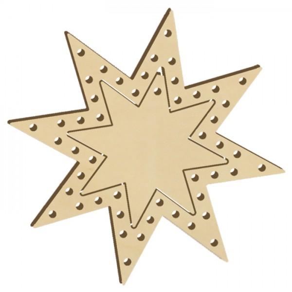 Fadenflechten Stern 1 Holz 4mm ca. 11,5cm natur