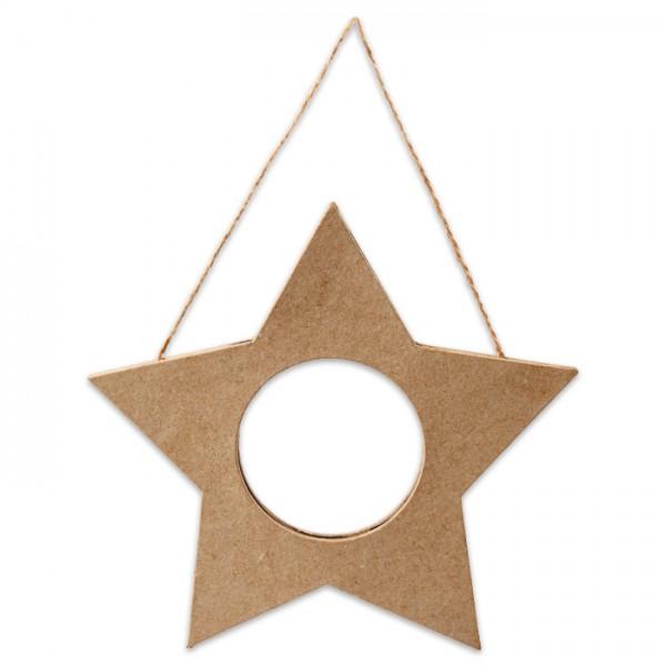 Stern-Rahmen Pappmaché 15,5cm mit Schnur, Ausschnitt ca. 5,8cm