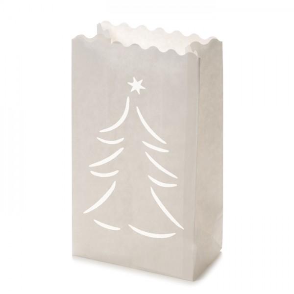 Papier-Lichttüten Tanne ca.26x15x9cm 10St. weiß - Preis gesenkt!