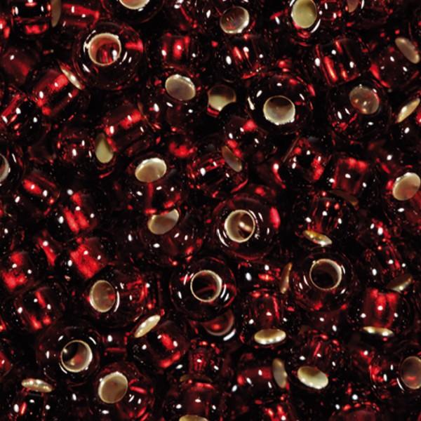 Rocailles transparent 2,6mm 500g dunkelrot Silbereinzug, Glas, Loch ca. 0,9mm