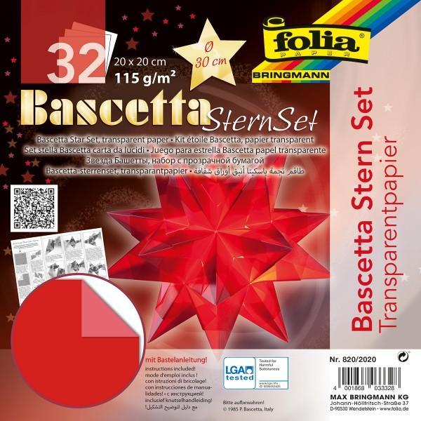 Bascetta-Stern ca. Ø 30cm 32 Bl. rot 20x20cm, Transparentpapier, 115g/m²