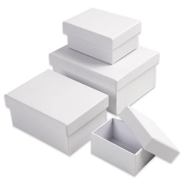 Geschenkboxen Karton 4-teilig Rechteck weiß 5x8,5x3,5cm bis 9,5x14x6,5cm