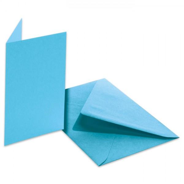 Doppelkarten 220g/m² 10,5x15cm 5 St. himmelblau inkl. Kuvert&Einlegeblatt