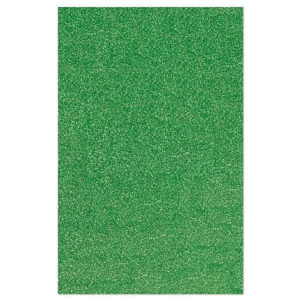 Glitzer-Moosgummiplatte 2mm 20x31cm grün Rückseite weiß