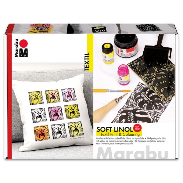 Marabu Textil Soft Linol Print & Colouring Set 8-teilig Druckfarbe für Textilien