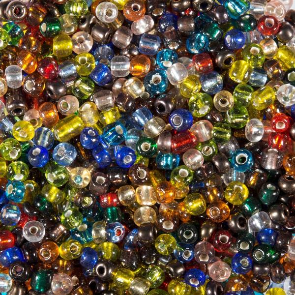 Rocailles transparent 4,5mm 500g bunt-mix Silbereinzug, Glas, Lochgr. ca. 0,9mm