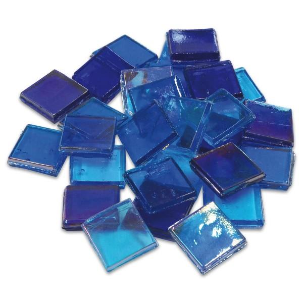 Eis Glas transparent 15x15x4mm 200g blau mix ca. 100 St.