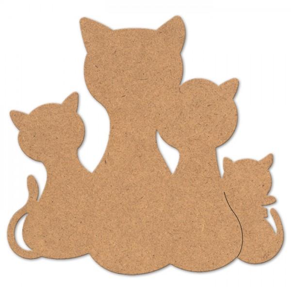 Katzenfamilie MDF 3mm 20x19cm