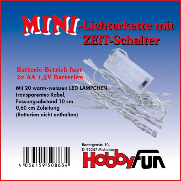 LED-Mini-Lichterkette 20 Lämpchen transparent für Innenbeleuchtung, mit Zeitschaltuhr, ohne Batterie