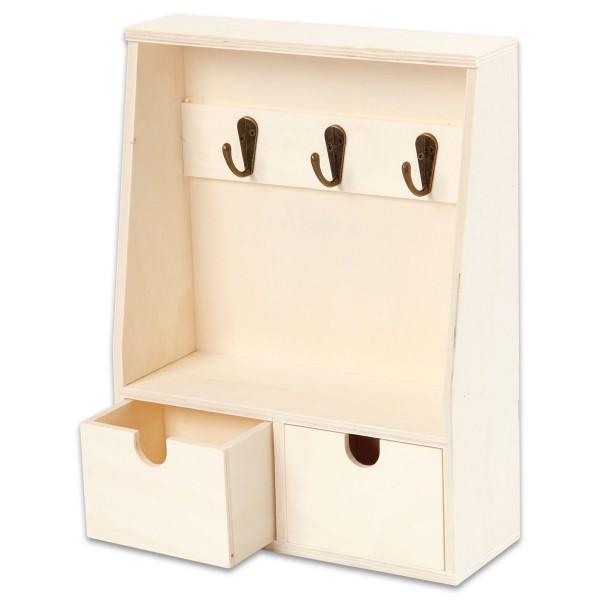 Schlüsselbrett Holz 28,5x22x5-8cm natur mit 3 Metallhaken und 2 Schubladen