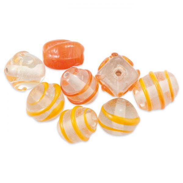 Glasperlen glänzend 9-15mm 100g orange handgefertigt, Lochgr. ca. 0,9-1,5mm