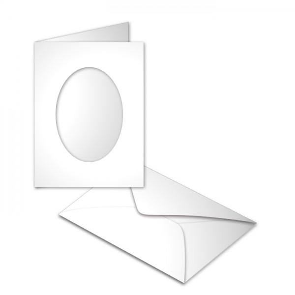 Passepartoutkarten DIN A6 10 St. oval weiß 250g/m², mit Kuverts