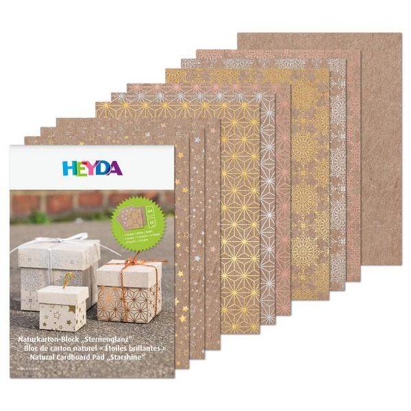Naturkarton-Block DIN A4 12 Bl. Sternenglanz 220g/m², hochglanzveredelt, natur/gold/silber/roségold