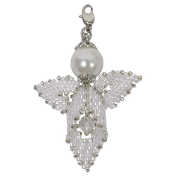 Kreativset Peyote Engel weiß-silberfarben ca. 5cm, Perlen-Bastelset, Kunstoff/Metall