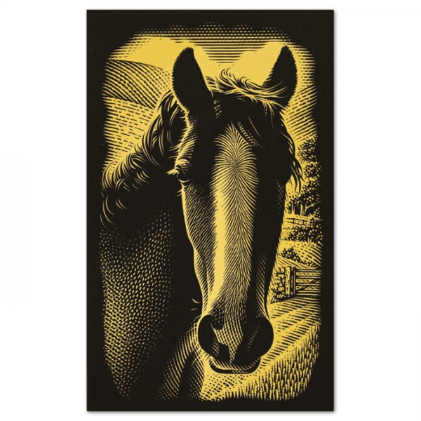 Kratzbild gold 18x11cm Pferd