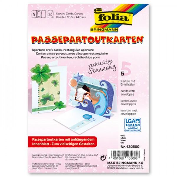 Passepartoutkarten DIN A6 5 St. Rechteck weiß inkl. Kuvert&Einlegeblatt, 220g/m²