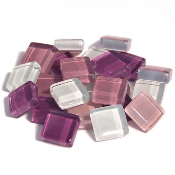 Mosaik Soft-Glas 10x10x4mm 200g lila mix ca. 210 Steine