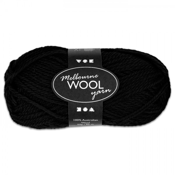 Garn Melbourne Filzwolle 50g schwarz 100% Wolle, LL 92m, Nadel Nr. 4