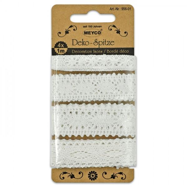 Spitzenbänder gehäkelt Baumwolle 4 St./m natur 11/20 & 2x22mm breit, pro Band 1m