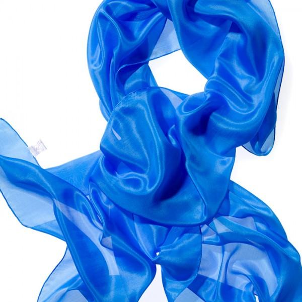 Schal Seide Pongé 05 180x45cm brillantblau 100% Seide