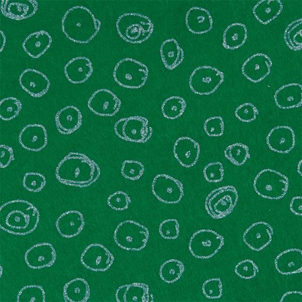 Bastelfilz 21x30cm Kreise grün/silberfarben 100% Polyester, ca. 1mm stark