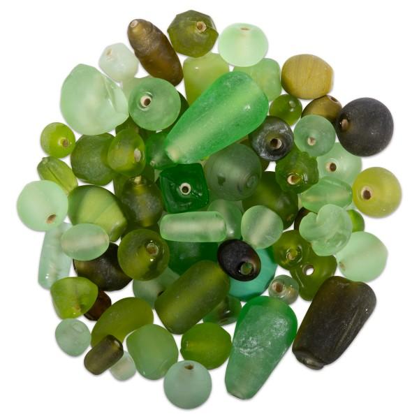 Glasperlen-Mix matt 6-26mm 100g grün-ton Lochgr. ca. 0,9-1,5mm