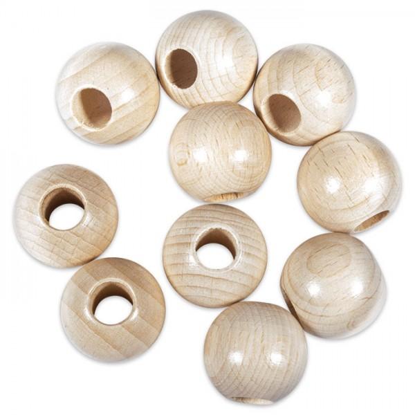 Rundperlen Holz Ø 25mm 10 St. natur lackiert Bohrung 10mm