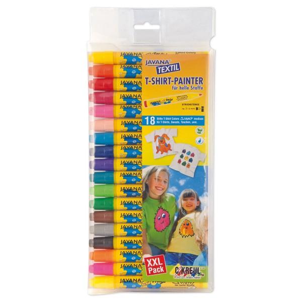 JAVANA Texi-Mäx Sunny Stoffmalstifte Set 18 St./Farben Strichbreite 2-4mm, inkl. 3 Neonfarben