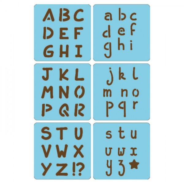 Schablonen Alphabet 15x15cm 6 St. Motiv ca. 35mm, Kunststoff