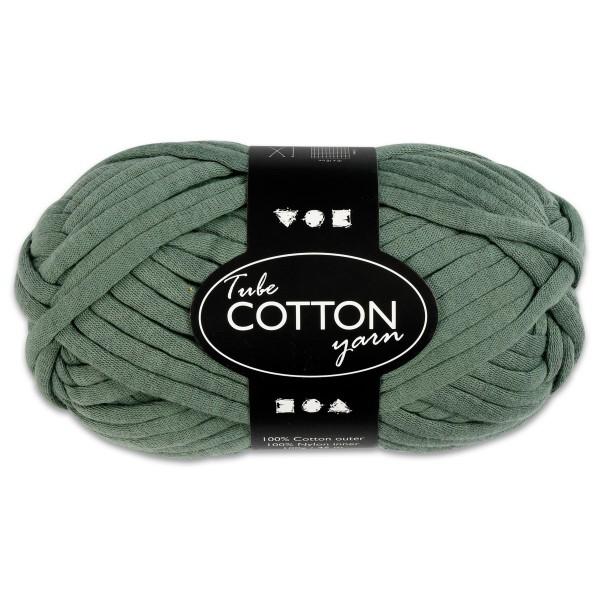 Baumwoll-Schlauchgarn 100g dunkelgrün 100% Baumwollen mit Nylonfüllung, für Nadel Nr. 8-10