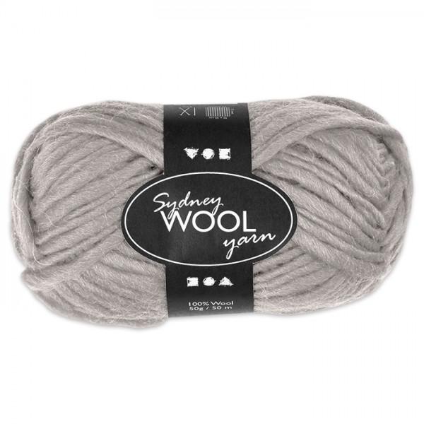 Garn Sydney Filzwolle 50g hellgrau 100% Wolle, LL 50m, Nadel Nr. 8