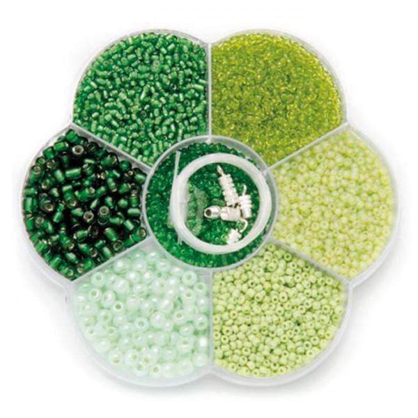 Rocailles Glas 2-4mm 90g grün mix inkl. Zubehör, Lochgr. ca. 0,7-1,5mm