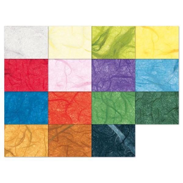 Faserseide/Strohseide 25g/m² 47x64cm 25 Bl./15 Farben gefalzt auf 32x47cm