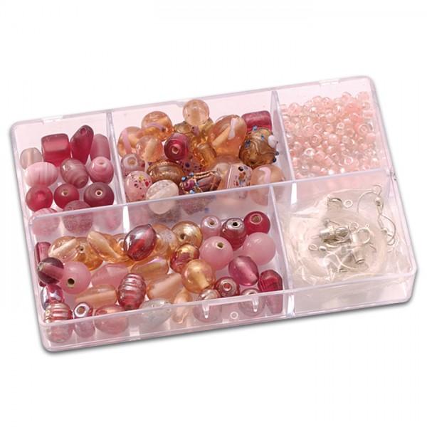 Schmuckbox Glasperlen & Zubehör ca. 80g rosa 3-16mm, Lochgr. ca. 1-1,5mm